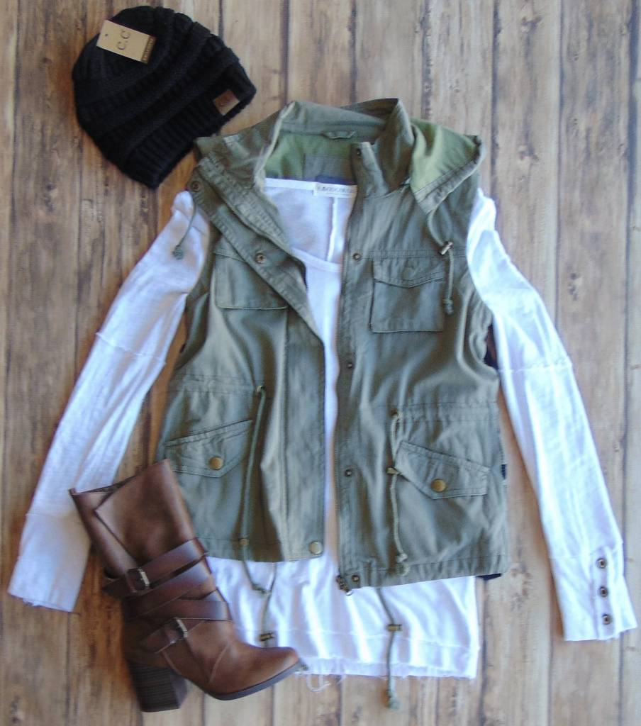 It Takes Two Sweater Back Military Vest
