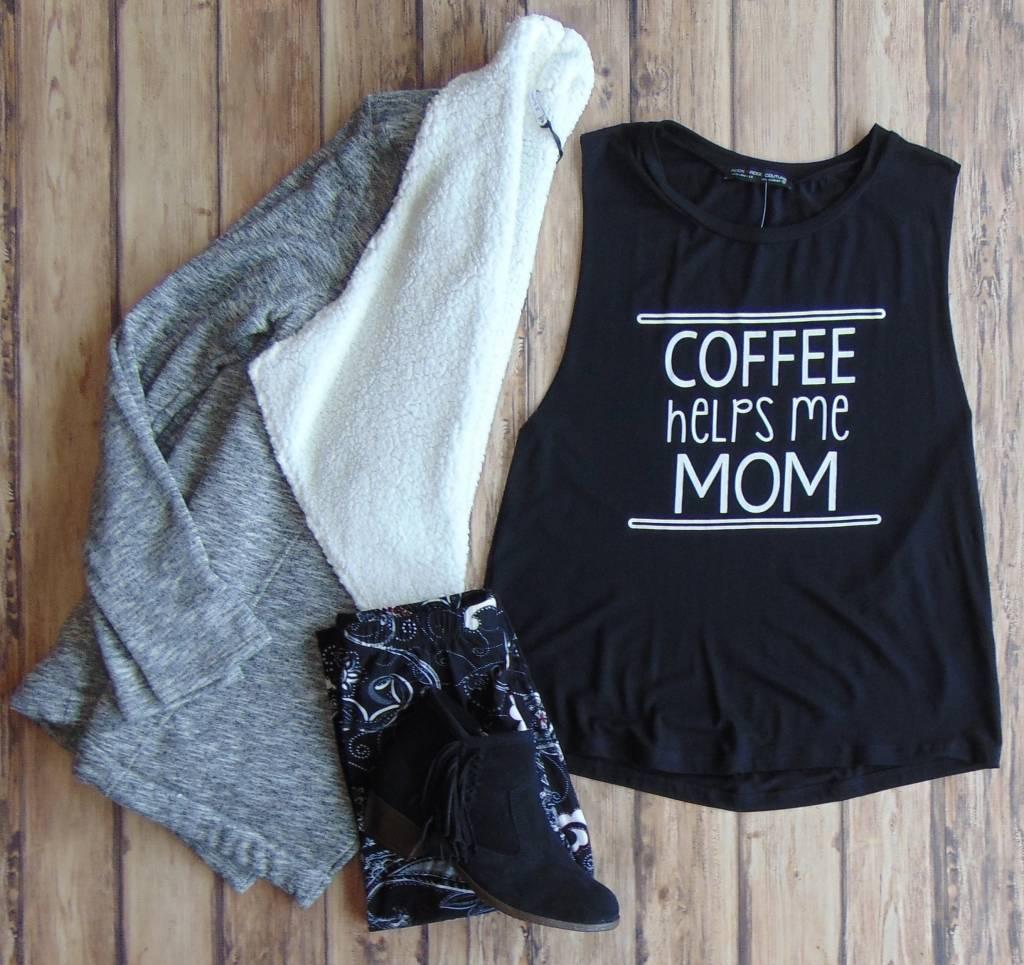 """Coffee Helps Me Mom"" Tank"