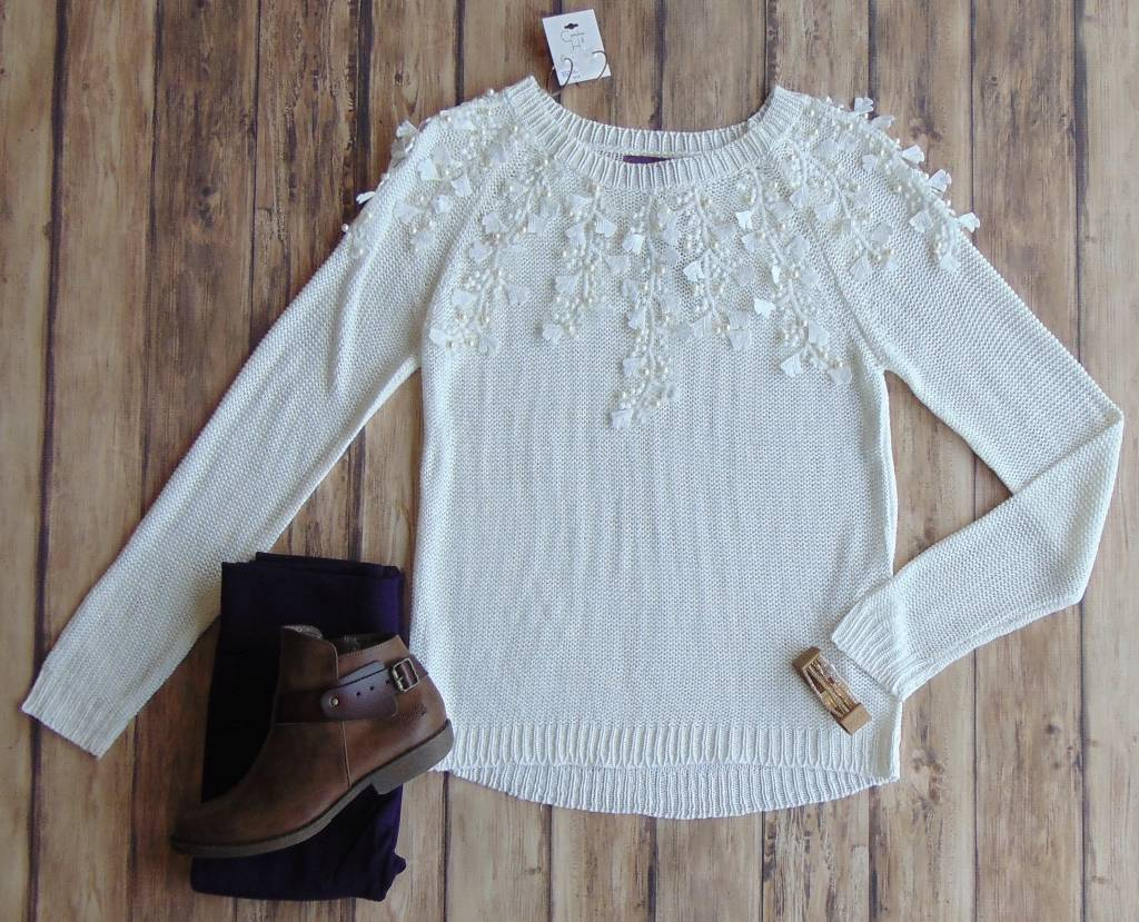 Lace and Pearls Sweater