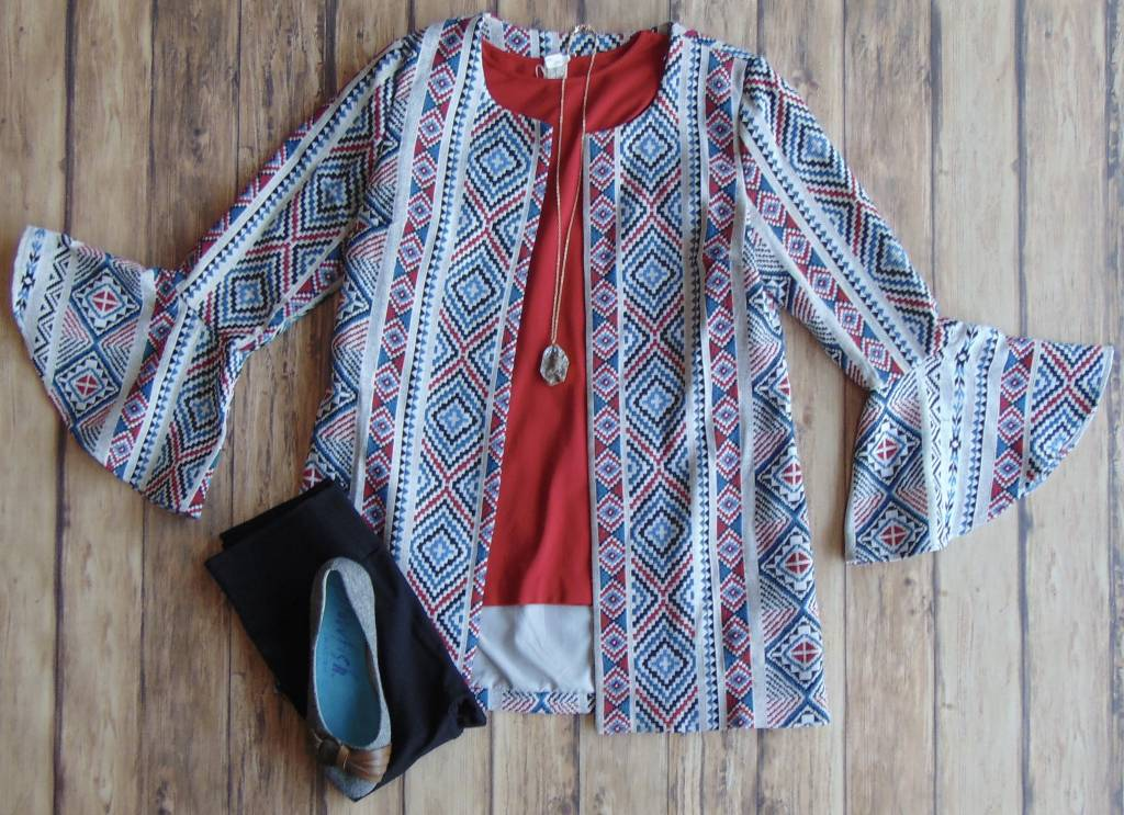 Printed and Polished Bell Sleeve Blazer