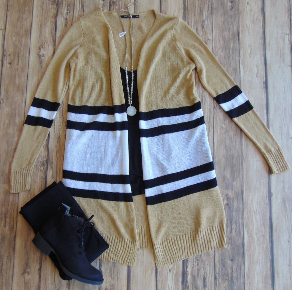 So Real Striped Cardigan