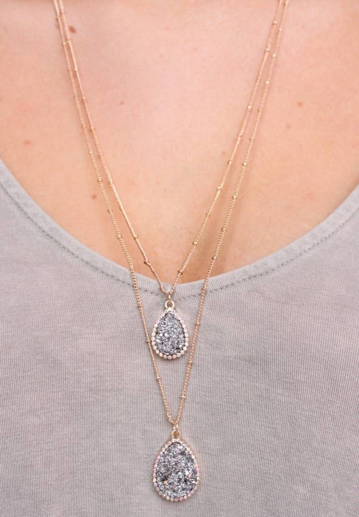 Thalia Double Layer Druzy Necklace
