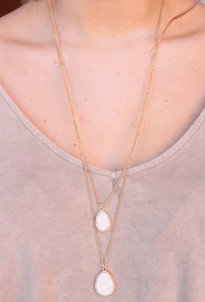 Thalia Double Layer Druzy Necklace