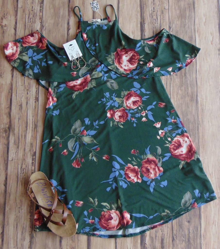 Forever Floral Cold Shoulder Dress
