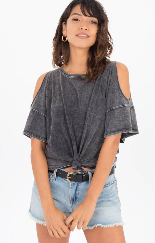 Z Supply Knotted Front Cold Shoulder Tee