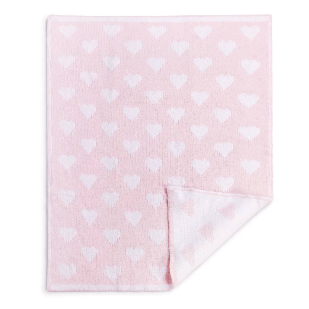 Pink Chenille Knit Heart Blanket