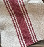Cotton Canvas Table Runner w/ Stripes, Red