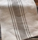 Cotton Canvas Table Runner w/ Stripes, Khaki