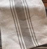 Cotton Canvas Table Runner w/ Stripes, Khaki