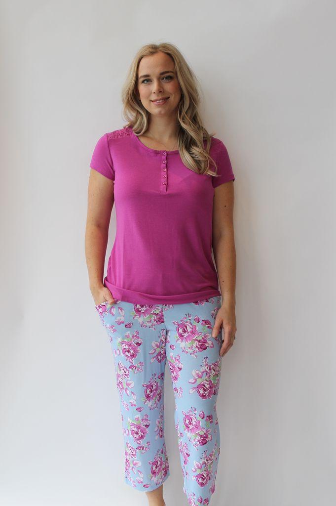 Cool Girl Pj Tee Capri Floral Daze