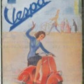 Lifestyle Vespa Tin Sign Waving Girl on Red Fenderlight
