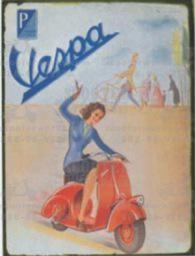 Lifestyle Vespa Tin Sign Waving Girl on Red Fenderlight