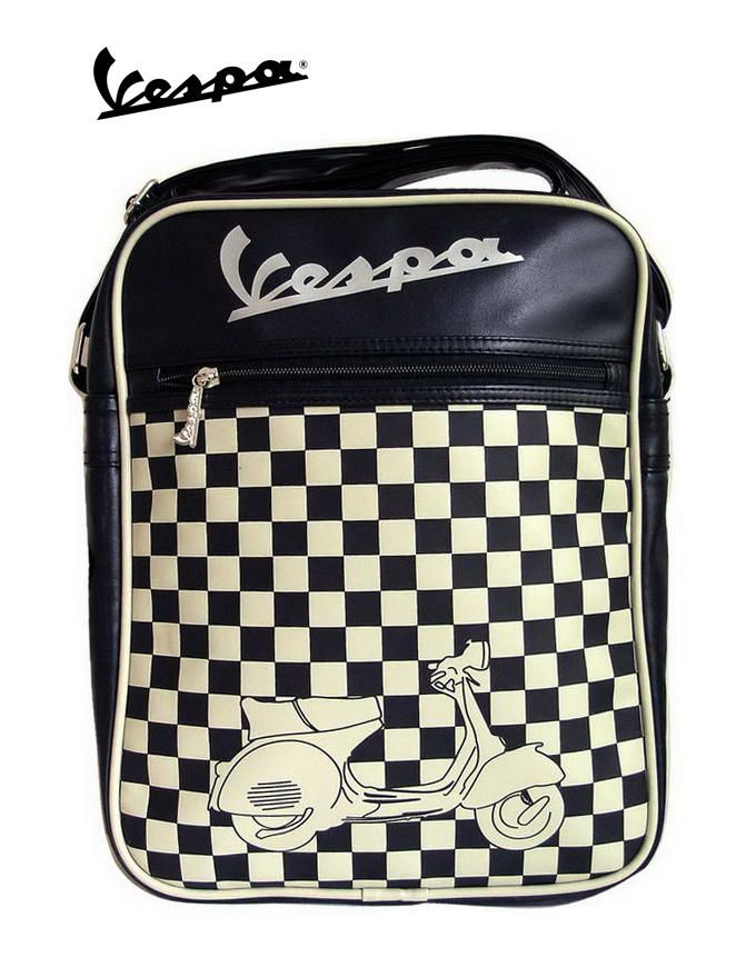 Lifestyle Shoulder Bag Black & Cream Checkers Vespa