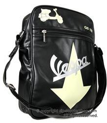 Lifestyle Shoulder Bag Black With Cream Vespa GS Arrow