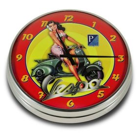 Lifestyle Wall Clock Vespa Aloha Pin Up 12.60""