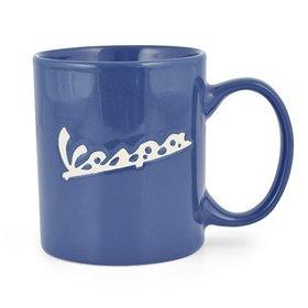 "Lifestyle Coffee Mug ""Vespa"" Logo White on Blue"