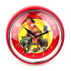 Lifestyle Vespa Wall Clock Red Brunette Pin Up