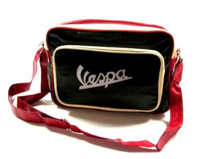Lifestyle Shoulder Bag Black & Cream Vespa Logo Red Strap
