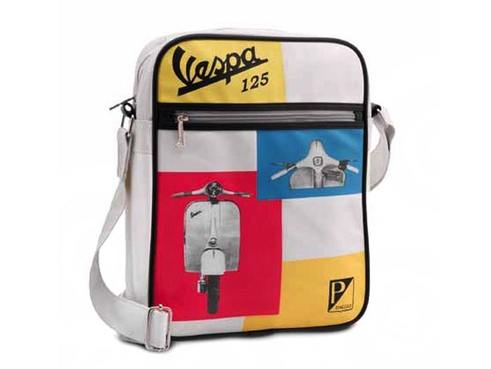 Lifestyle Shoulder Bag, Vespa 125 White/Yellow/Orange