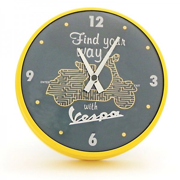 "Lifestyle Clock, ""Find your way with Vespa"" 20"" DIA Yellow Trim"