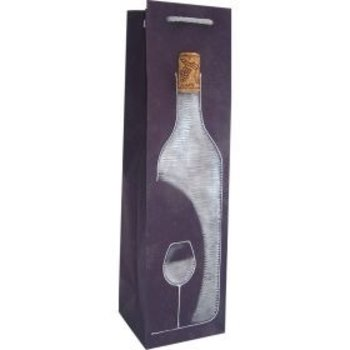 Bella Vita Hand Painted Rustic Navy Single Bottle Wine Bag