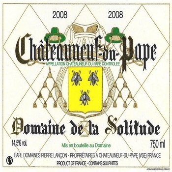 Dm Solitude Domaine de la Solitude Chateauneuf- du-Pape Blanc 2014<br /> Rhone, France  91pts-WA
