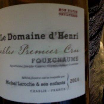 Le Domaine d'Henri Le Domaine D'Henri Fourchaume Premier Cru Chablis 2015 Burgundy, France