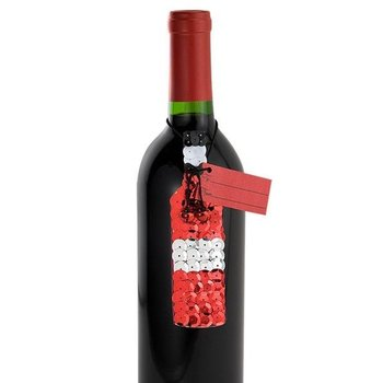 Epic Sequin Red Wine Bottle Gift Tag 2-Pack