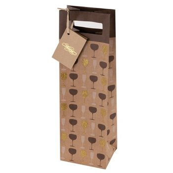True Fabrications Raise Your Glass One Bottle Wine Bag
