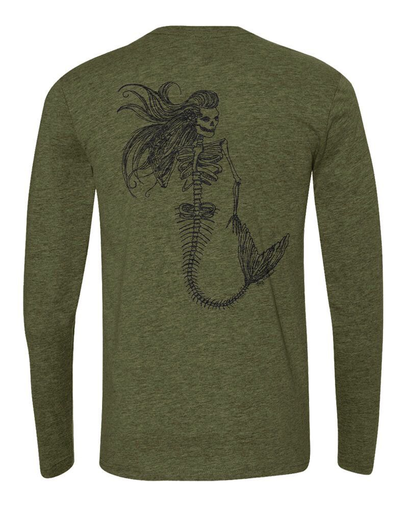 Logo MERMAID DAY OF THE DEAD PREMIUM TRI-BLEND BACK PRINT LONG SLEEVE TEE