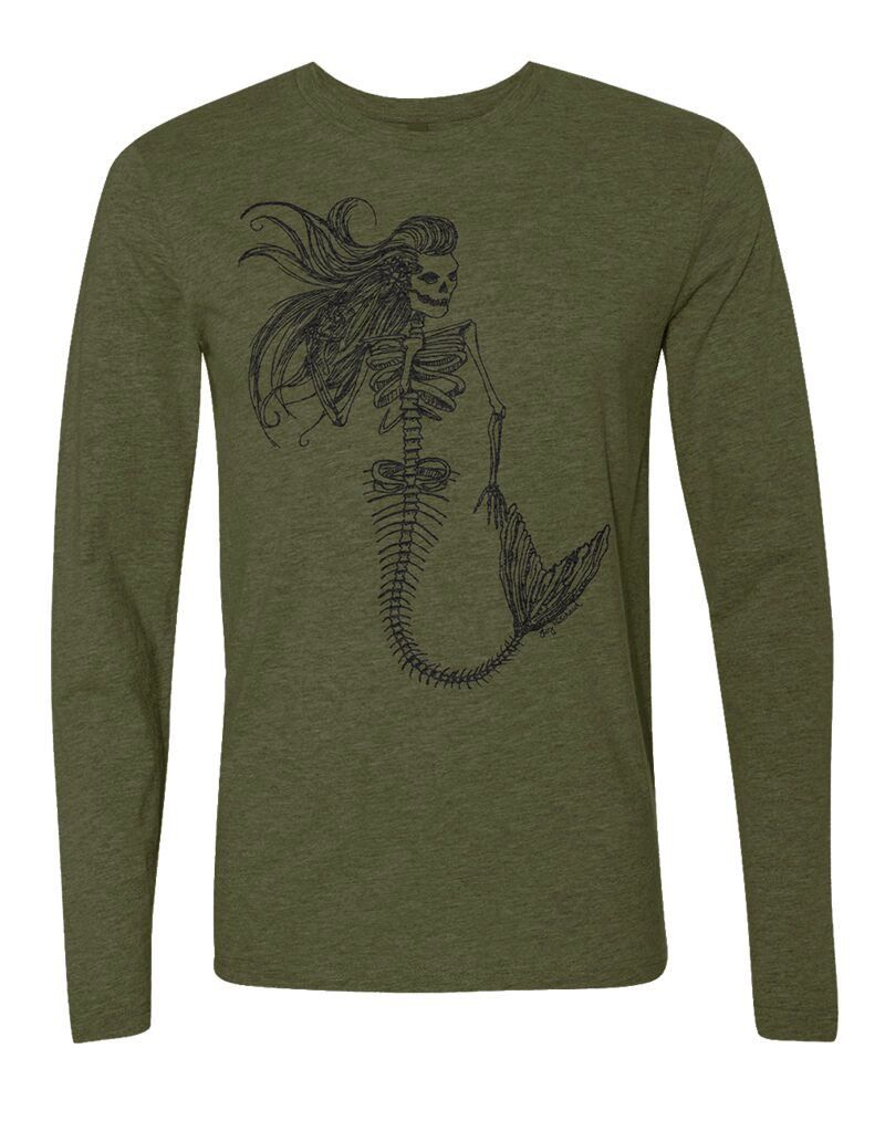Whalebone Logo MENS MERMAID DAY OF THE DEAD PREMIUM TRI-BLEND FRONT PRINT LONG SLEEVE TEE