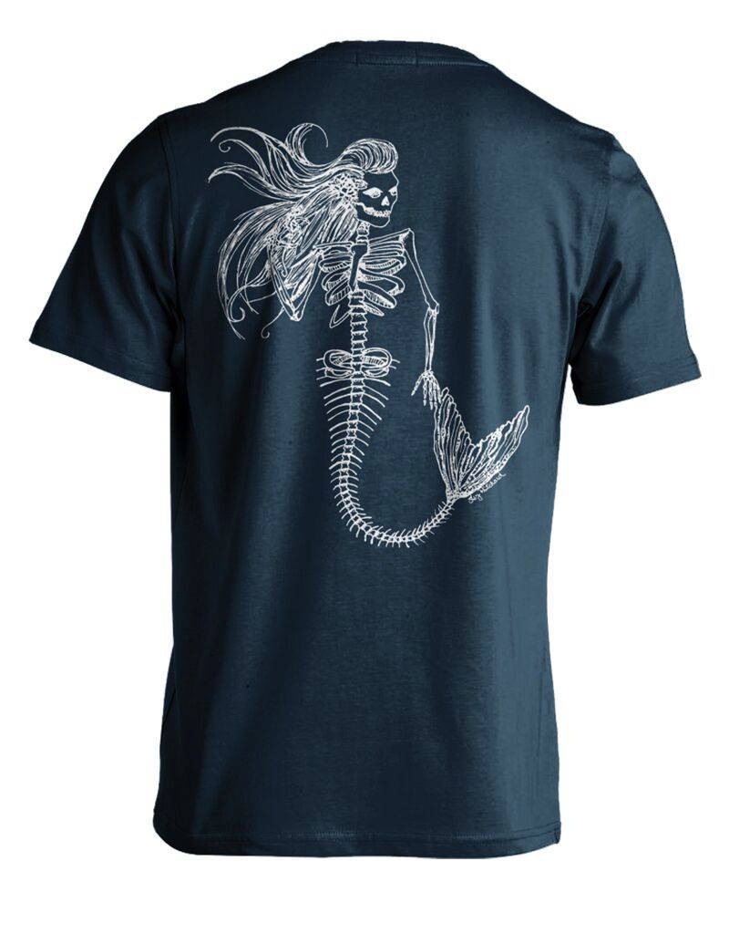 Whalebone Logo MENS MERMAID DAY OF THE DEAD PREMIUM BACK PRINT SHORT SLEEVE TEE