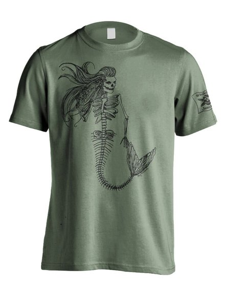 Whalebone Logo MENS MERMAID DAY OF THE DEAD PREMIUM FRONT PRINT SHORT SLEEVE TEE