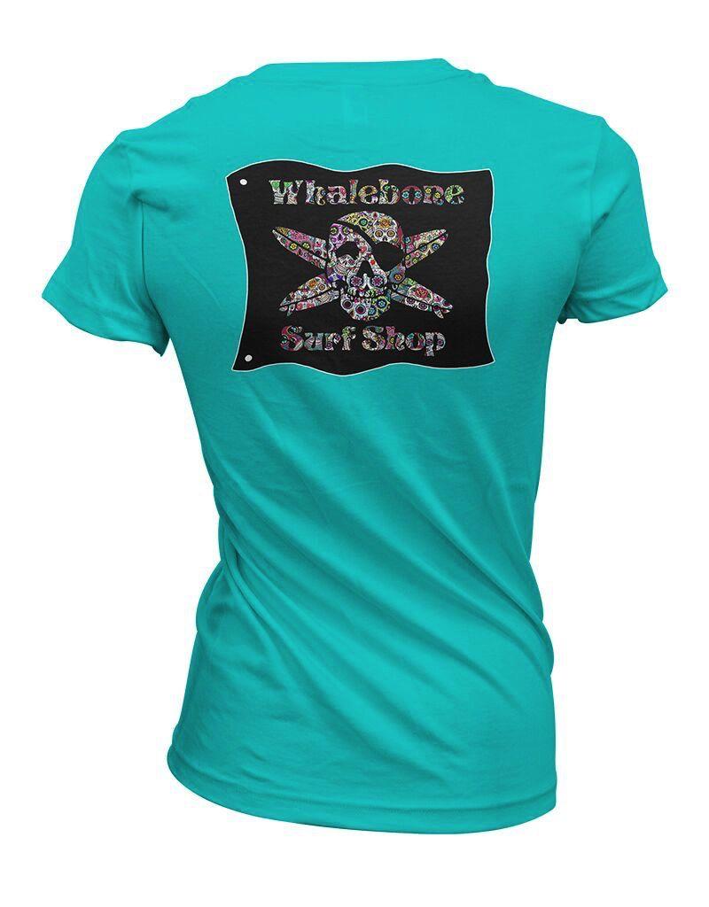 Whalebone Logo WOMENS SUGAR SKULL SPORTY VNECK SHORT SLEEVE TEE