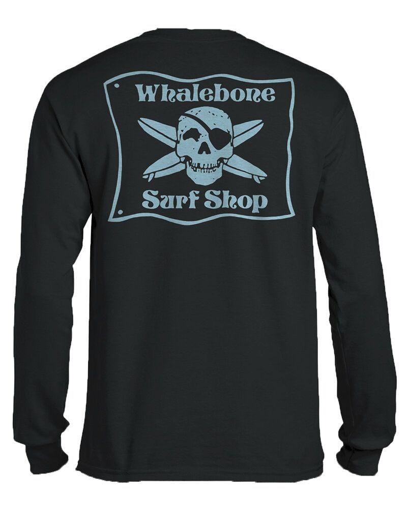 Whalebone Logo *WHALEBONE SURF SHOP BLUE FLAG LOGO LONG SLEEVE TEE WITH SOUTH 12 ON CUFF
