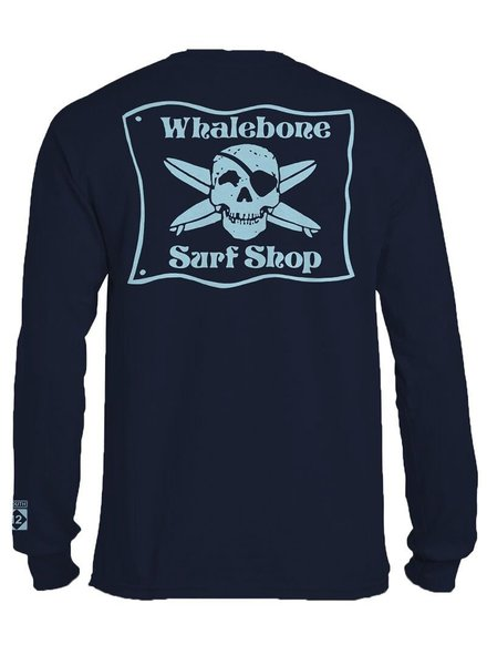 Whalebone Logo *WHALEBONE SURF SHOP BLUE FLAG LOGO LONG SLEEVE TEE WITH SOUTH 12 ON CUFF