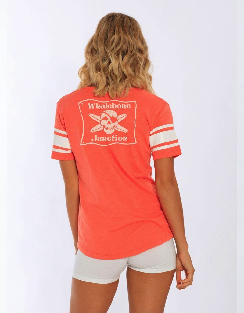 Whalebone Logo WOMENS JUNCTION LOGO VNECK TEE WITH SPORTY STRIPES ON SLEEVES