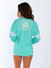 Whalebone Logo WOMENS WHALEBONE LOGO SPORTY CREW PULLOVER WITH STRIPED SLEEVES