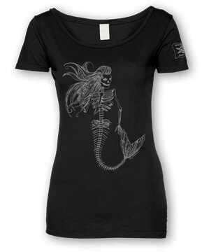 Whalebone Logo WOMENS MERMAID DAY OF THE DEAD FRONT PRINT SCOOP TEE