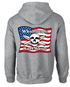 Whalebone Logo AMERICAN FLAG ZIP UP HOODIE