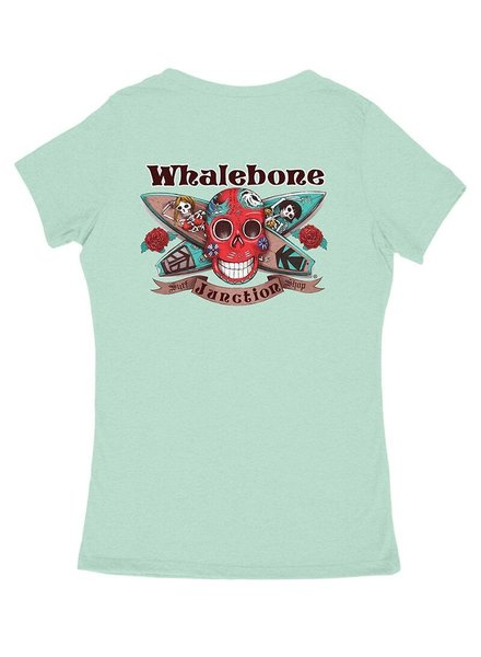 Whalebone Logo WOMENS DAY OF THE DEAD PREMIUM BLEND V-NECK SHORT SLEEVE TEE