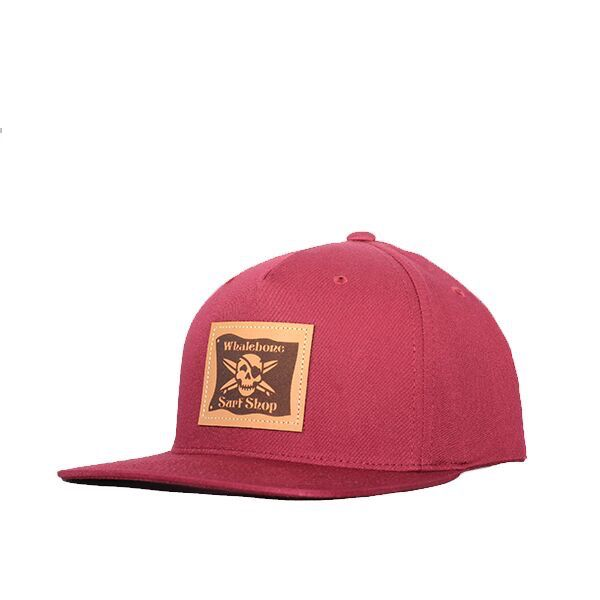 Whalebone Logo LOGO HAT - ORIGINAL 5 PANEL PINCH FRONT STRUCTURED TWILL SNAP BACK WITH LEATHER PATCH