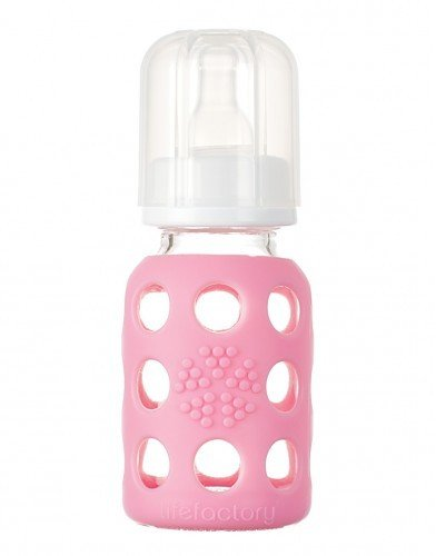 Life Factory 4 oz Glass Baby Bottle with Protective Silicone Sleeve