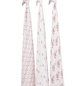 Aden & Anais Petunia Pickle Bottom Silky Soft Swaddles 3 Pack
