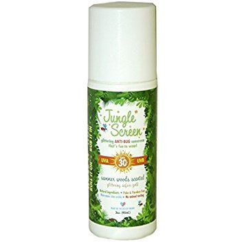 Jungle Screen: All natural SPF 30+ sunscreen with all natural Bug Repellant + glitter 3oz