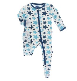 Kickee Pants Print Footie with Zipper Confetti Star