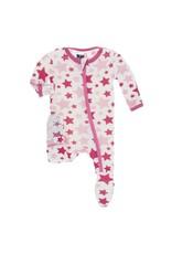 Kickee Pants Print Footie with Zipper Flamingo Star