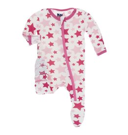 Kickee Pants Print Footie with Zipper Flamingo Star