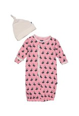 Kickee Pants Print Ruffle Layette Gown Converter and Knot Hat Set (Lotus Puffin - Preemie)