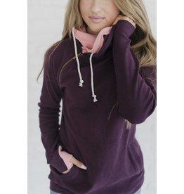 AmpersandAve DoubleHood™ Sweatshirt  -  Plum & Pink